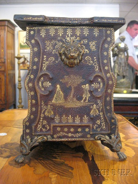 Continental Neoclassical Gilt-tooled Leather Covered Table Book Stand