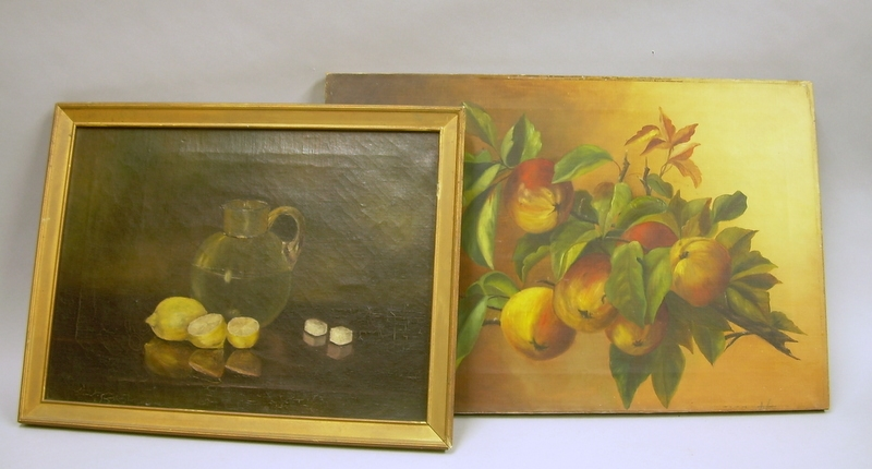 Two 19th/Early 20th Century American School Oil on Canvas Still Lifes