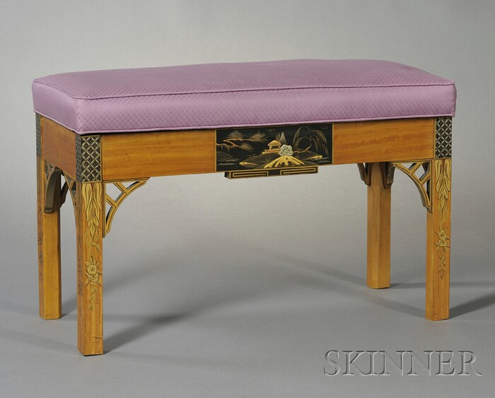 Edwardian Satinwood Chinoiserie Decorated Piano Bench