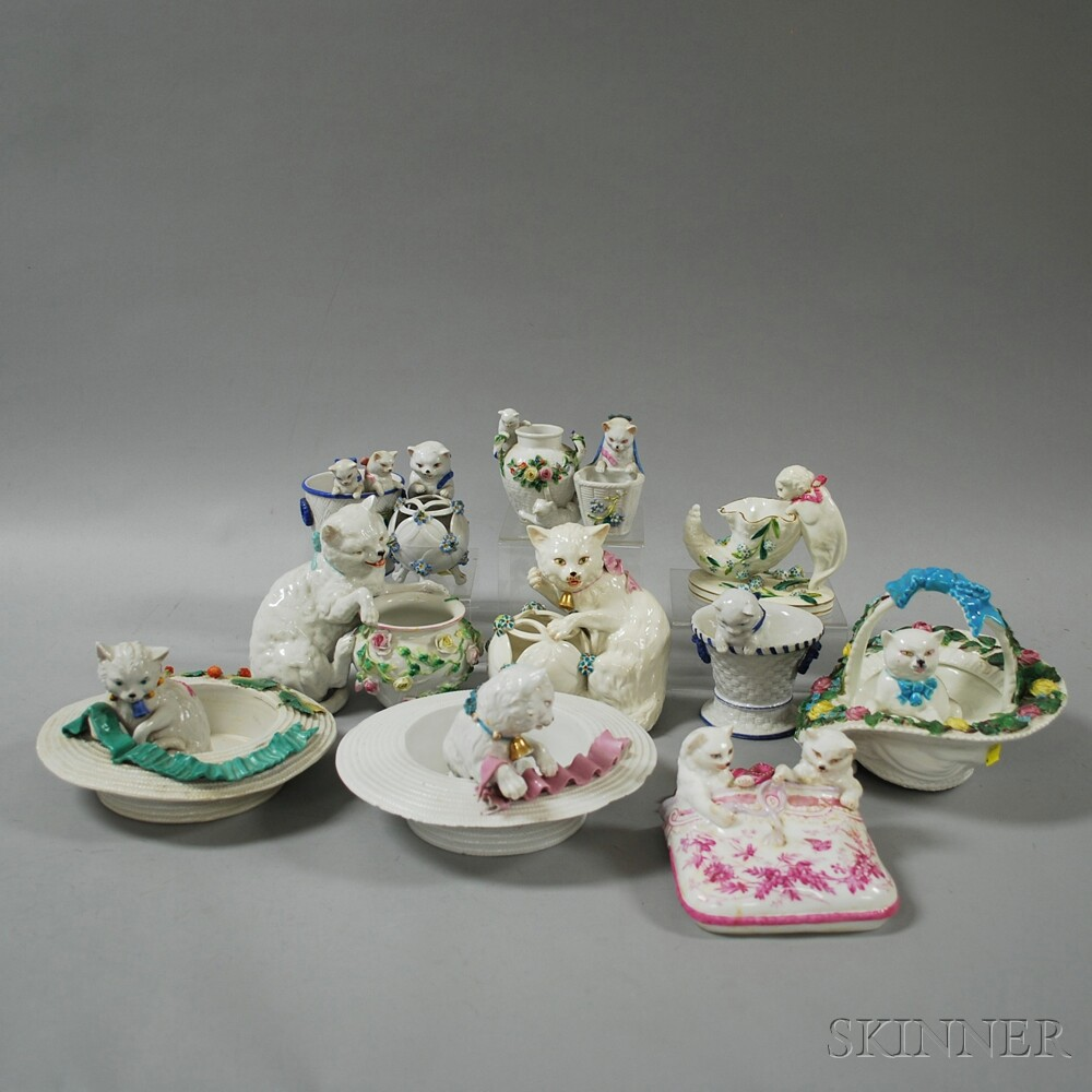 Twelve Porcelain Cat-related Items