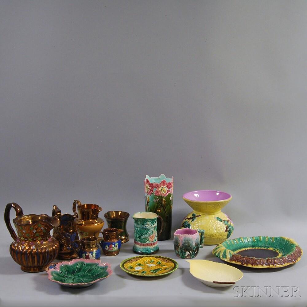 Group of Copper Lustre and Majolica Ceramic Tableware