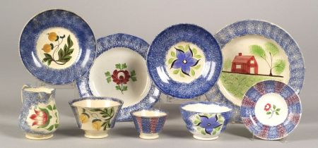 Eight Spatterware Table Items