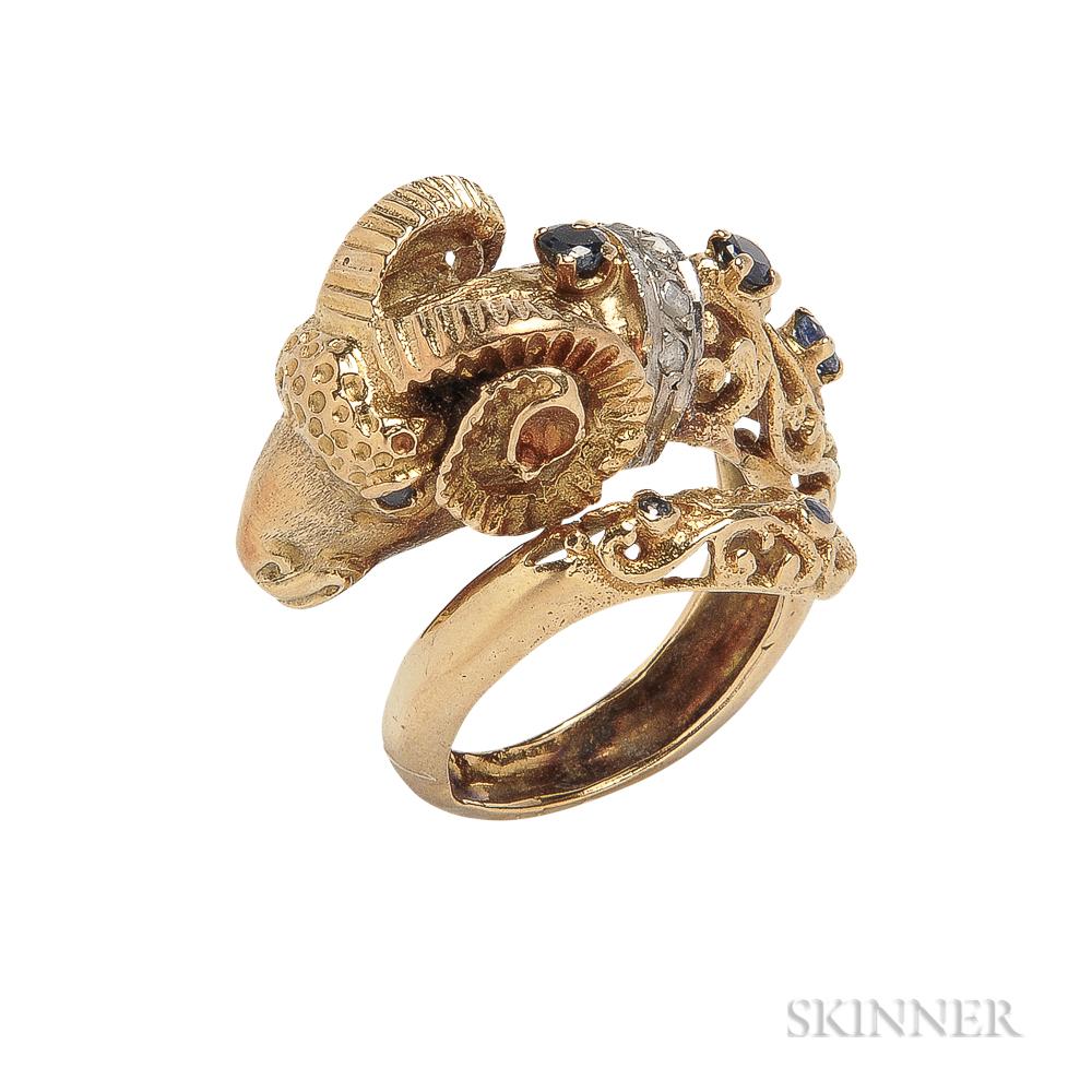 18kt Gold, Sapphire, and Diamond Ram's Head Ring