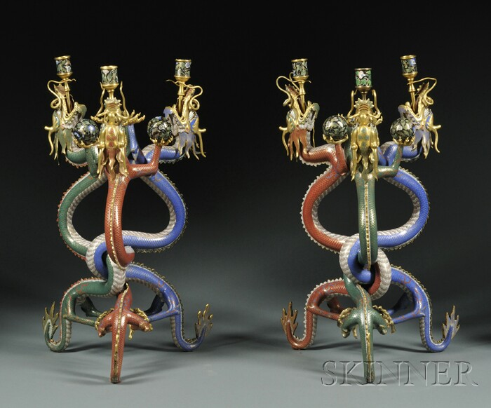 Pair of Figural Three-light Cloisonne Candelabra