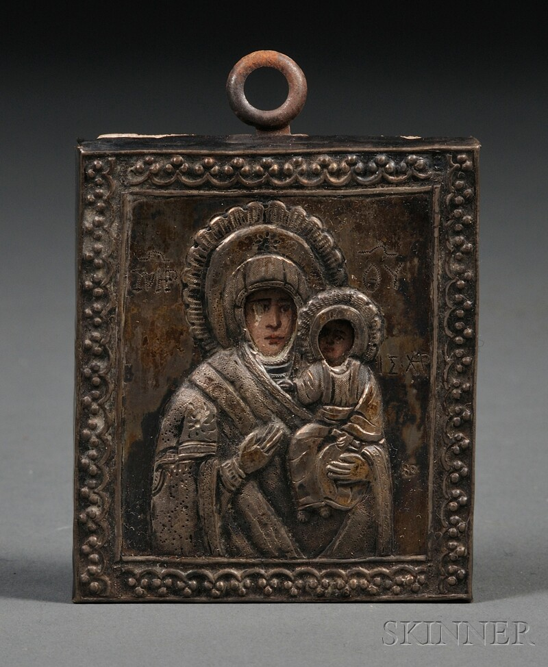 Greek Miniature Icon of the Madonna and Child with Silver Riza
