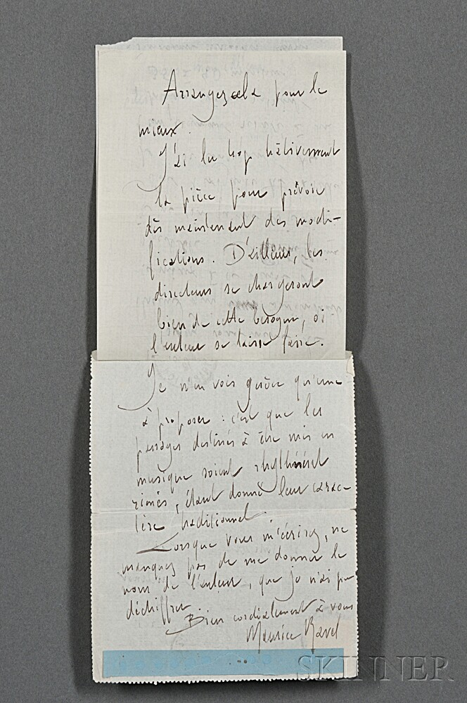 Ravel, Maurice (1875-1937) Autograph Letter Signed, 25 July 1912.