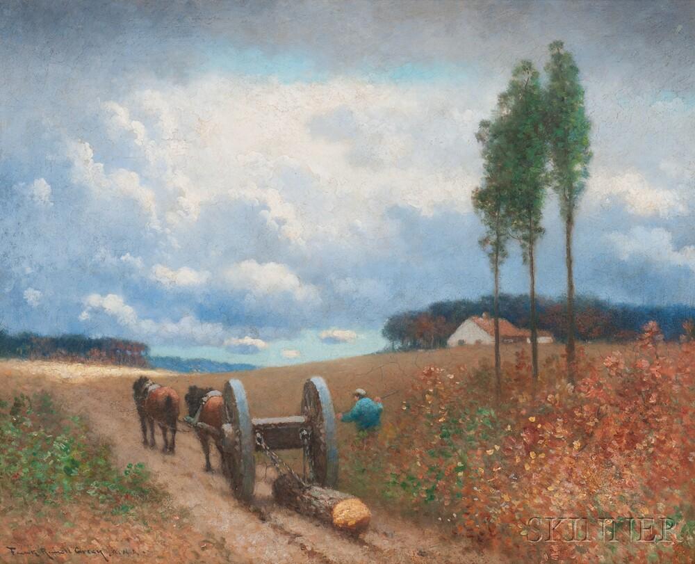 Frank Russell (American, b. 1921)    Mules Logging