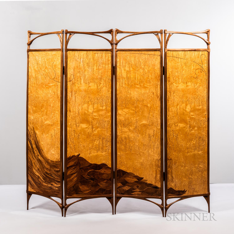 "Virginia ""Ginny"" Blanchard Art Nouveau-inspired Four-panel Peacock Screen"
