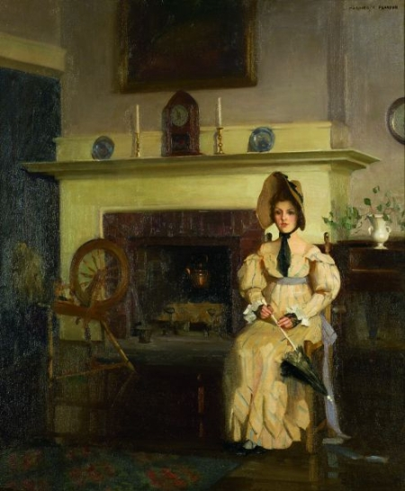Marguerite Stuber Pearson (American, 1898-1978)    Woman with a Parasol by the Fireplace