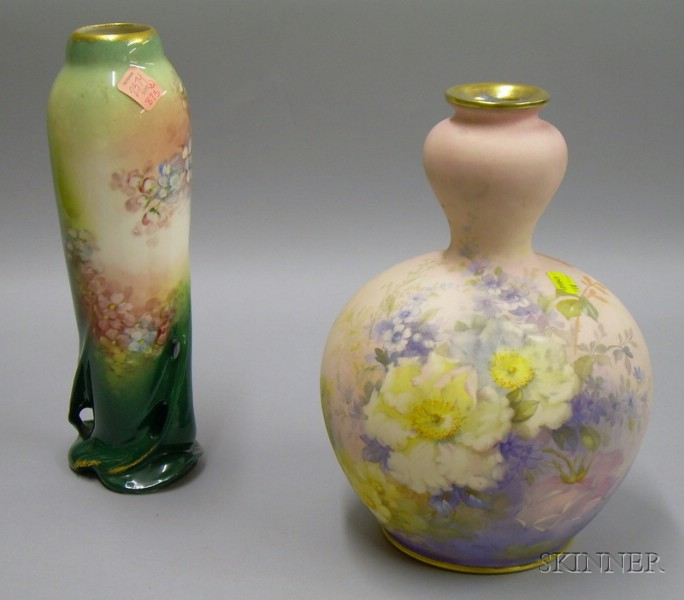 Carlsbad Hand-painted Floral Decorated Ceramic Vase and a Royal Bonn Matte   Hand-painted Floral Decorated Vase