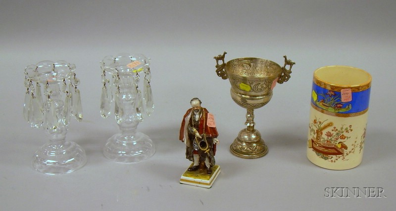 Pair of Cut Crystal Girandole Candlesticks with Prisms, a South American Silver Chalice, a German Porcelain Fig...