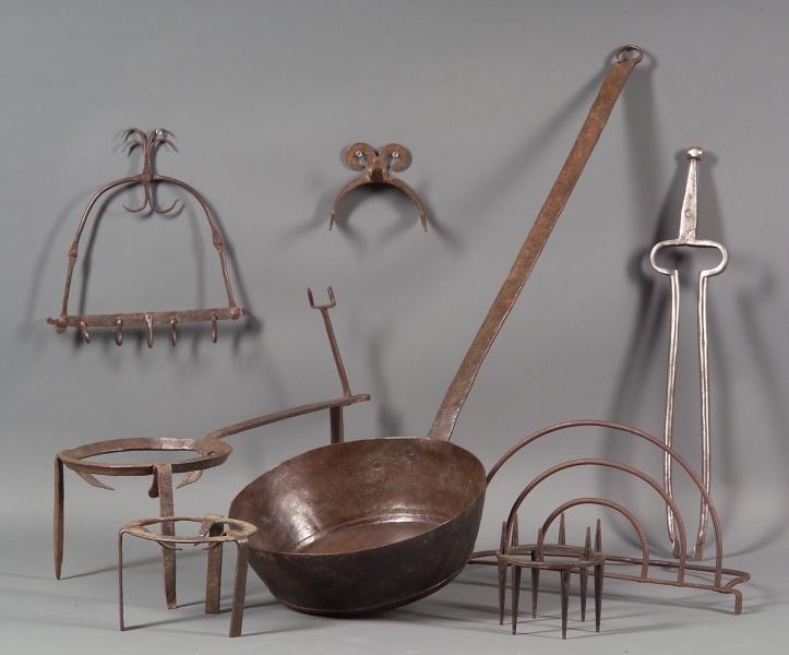 Nine Assorted Iron Hearth Items
