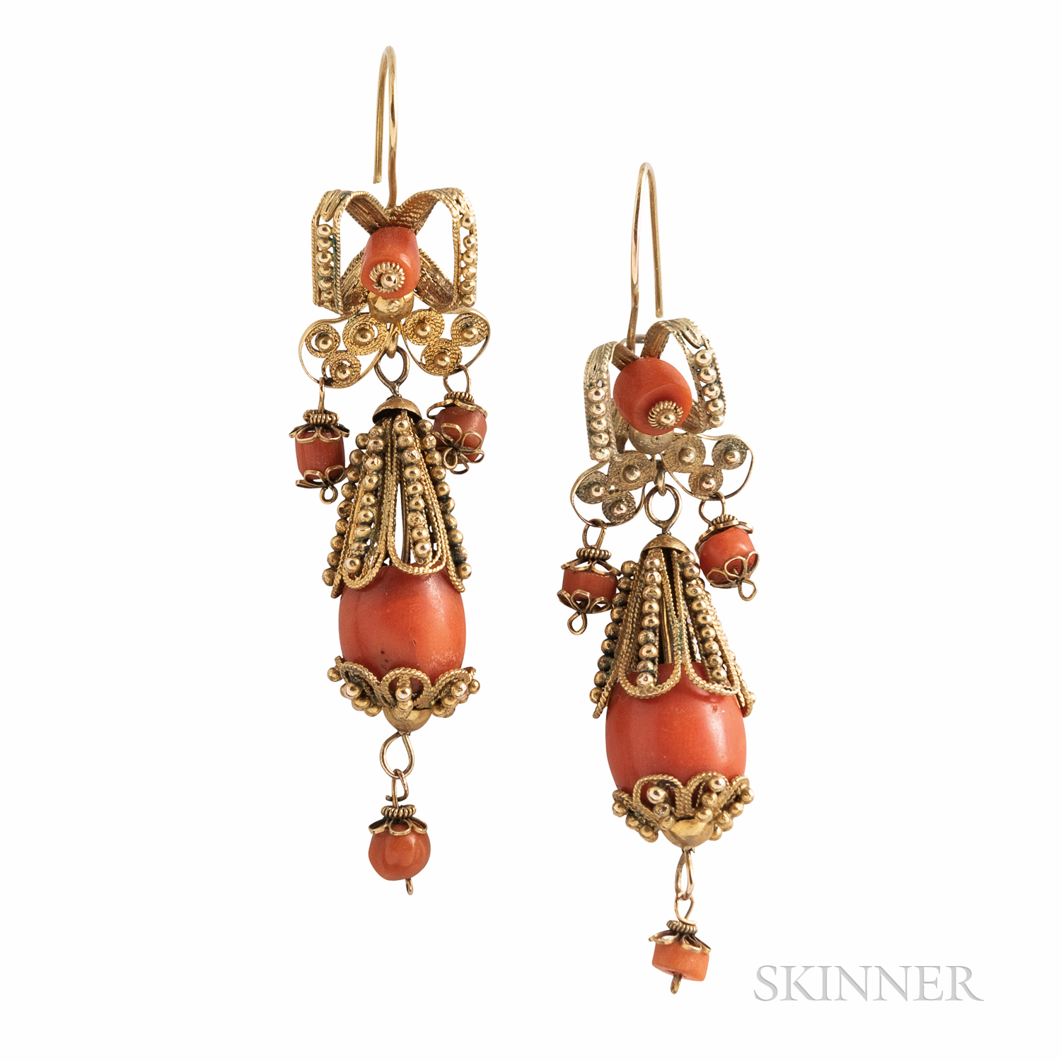 Antique Gold and Coral Earrings