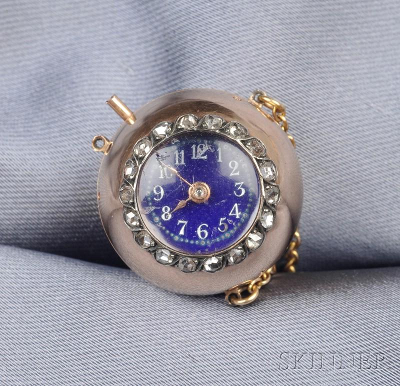 Antique Gold and Diamond Ball Watch Pendant, Patek Philippe