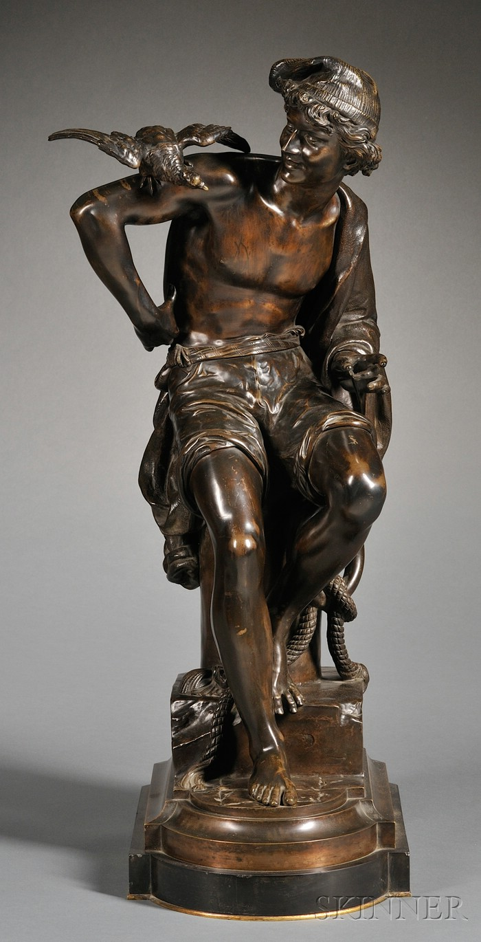 Charles-Eugene Brunin (1841-1887)   Bronze Figure of a Fisherman with a Parakeet