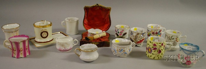 Thirteen Assorted 19th/Early 20th Century Decorated Porcelain Shaving Mugs   and Mustache Cups