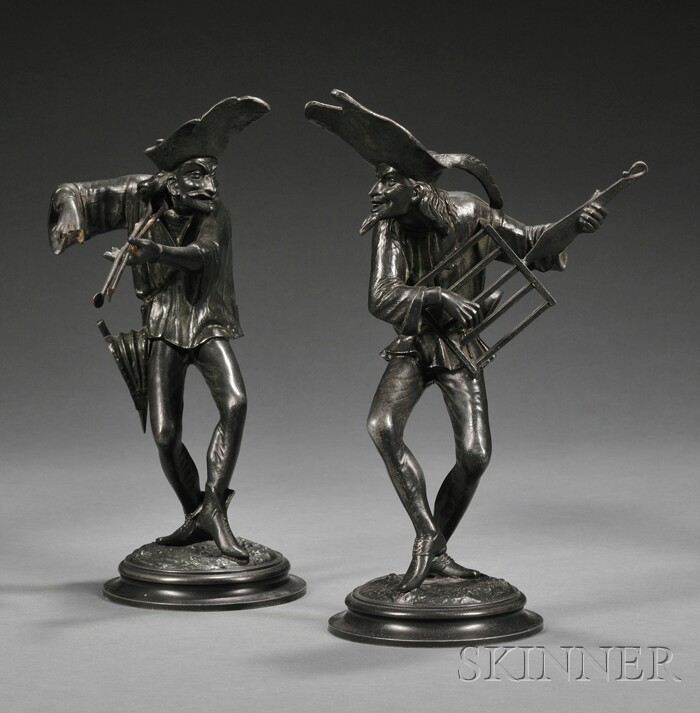Pair of Figural Lead Candlesticks