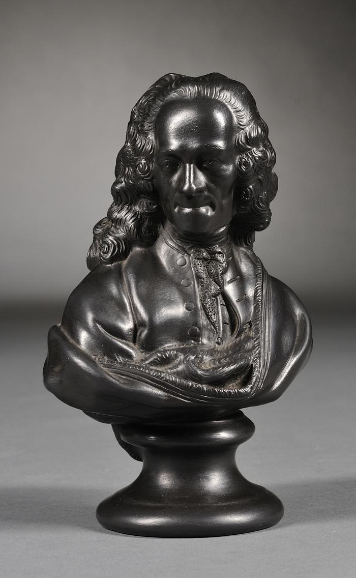 Wedgwood Black Basalt Bust of Voltaire