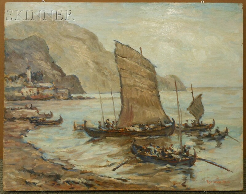 Reynolds Beal (American, 1866-1951)      Cargo Boats, Funghal, Madeira