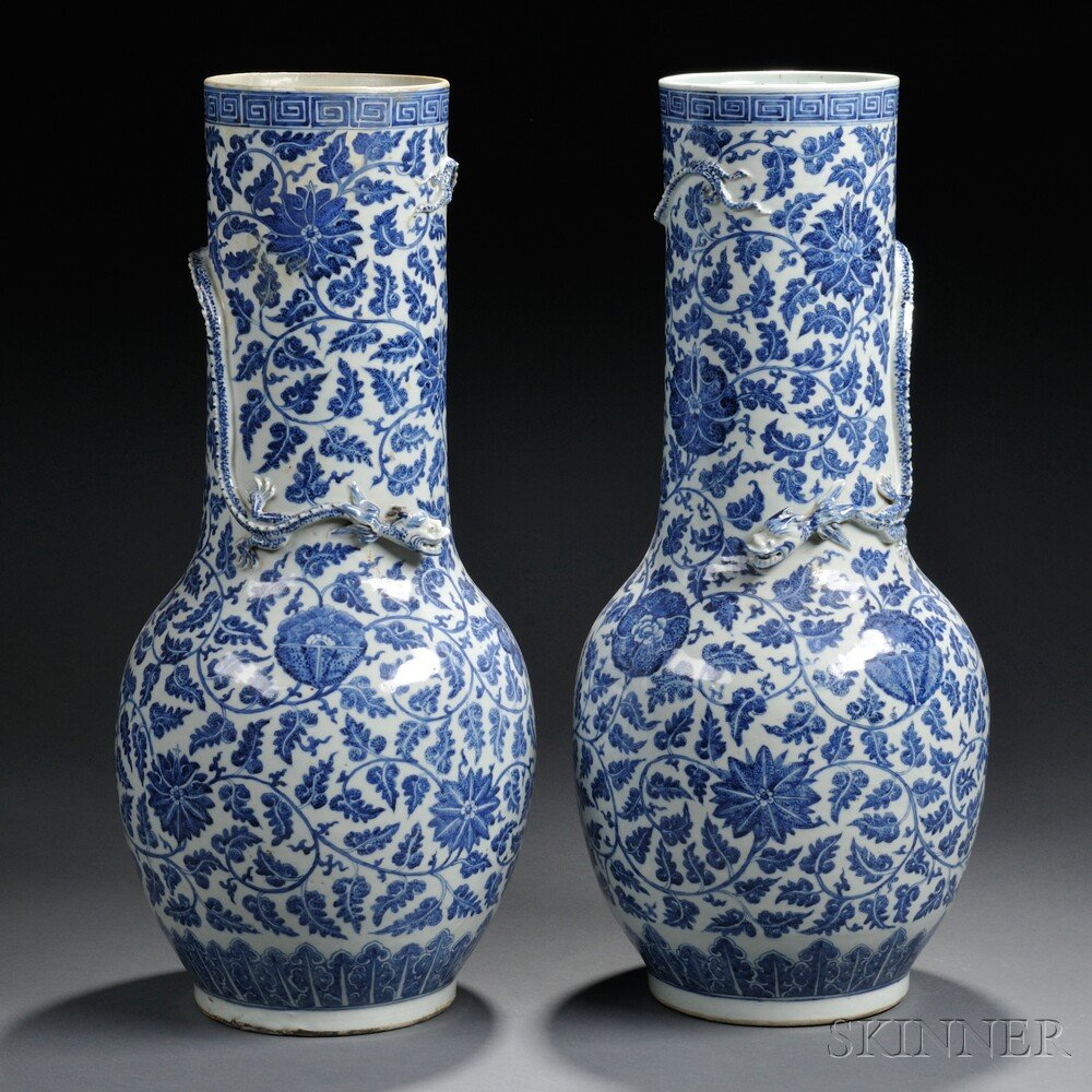 Pair of Blue and White Tall Vases