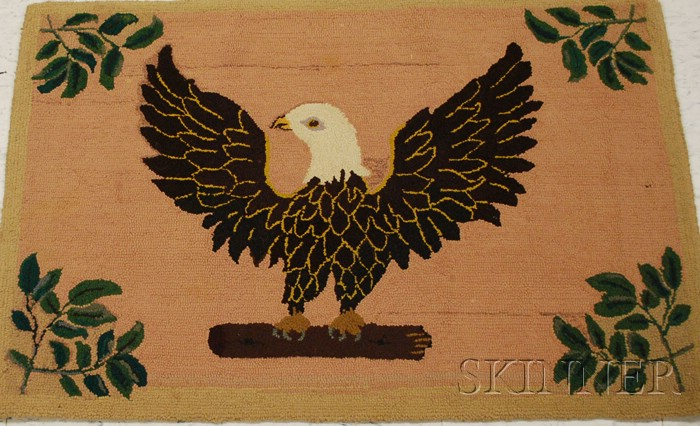 Wool Pictorial Hooked Rug with Eagle Motif