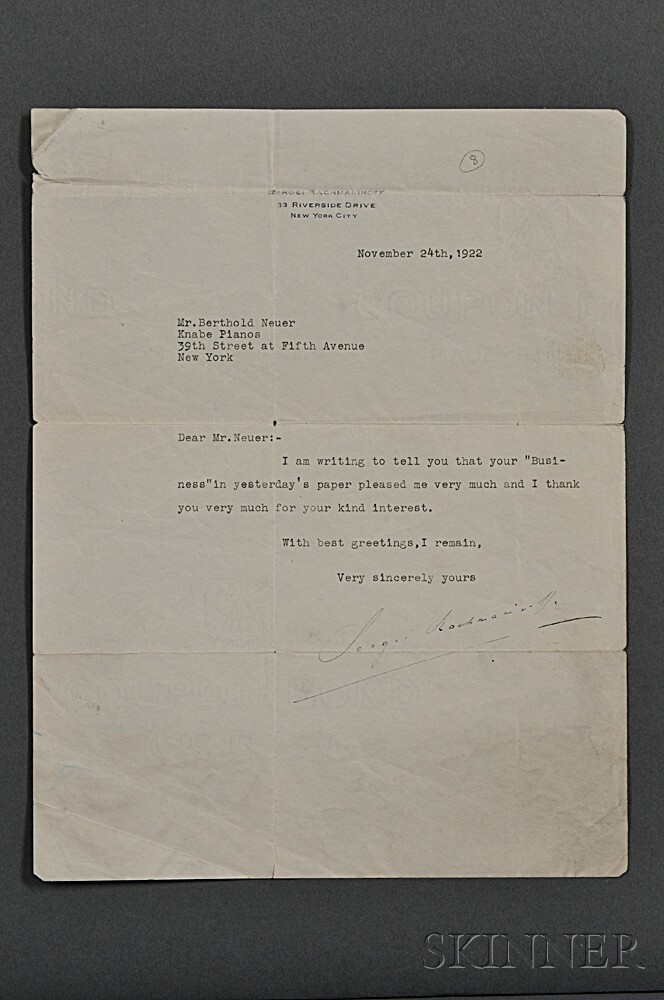 Rachmaninoff, Sergei (1873-1943) Two Typed Letters Signed, Autographed Picture Postcard, and Photograph.