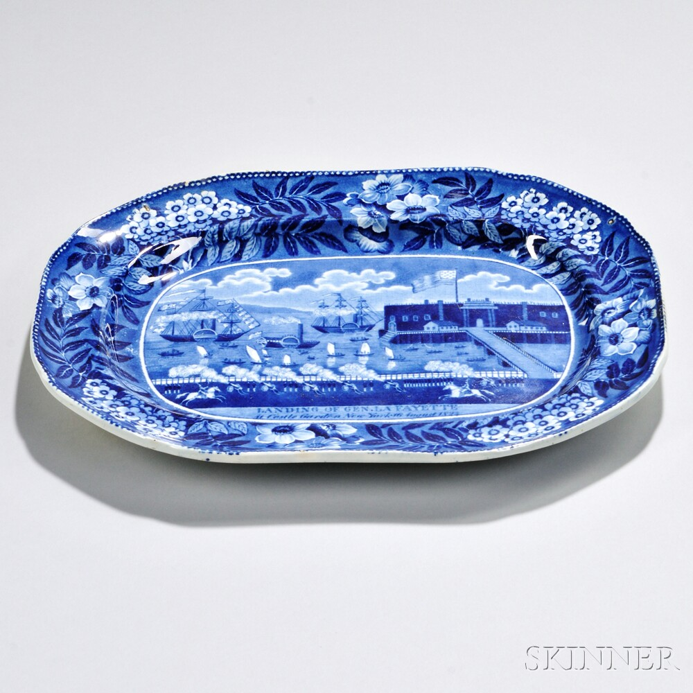 Small Historical Blue Staffordshire Landing of La Fayette Platter