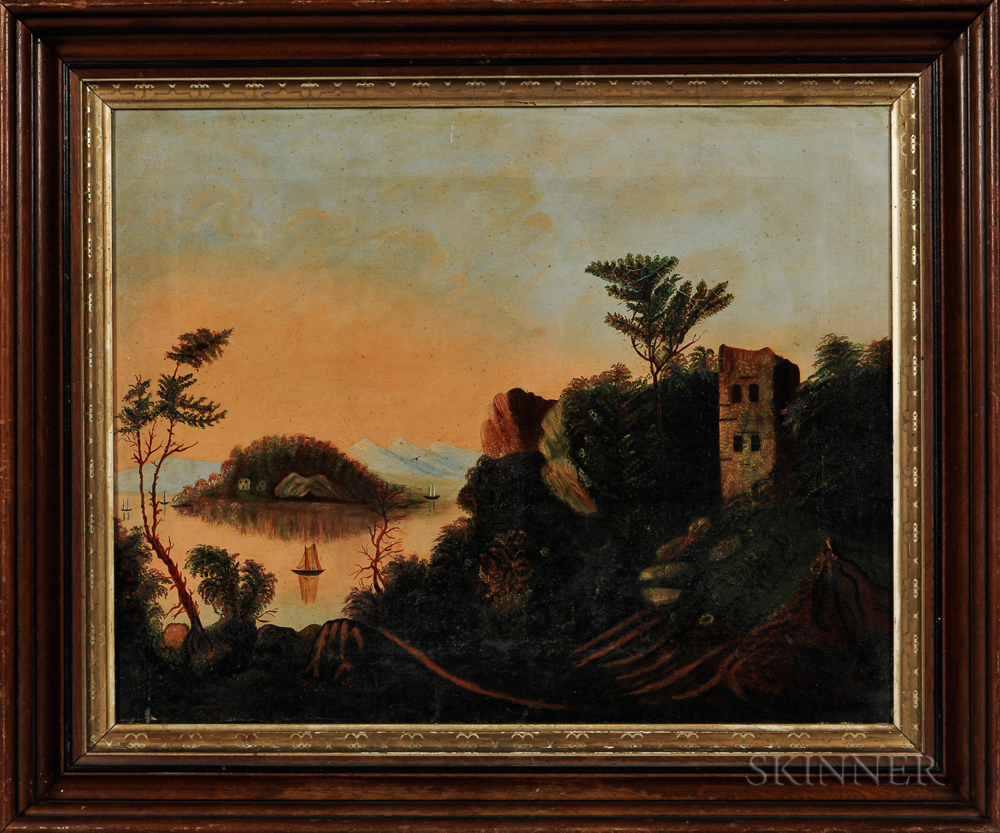 School of Thomas Chambers (British, 19th Century)       Serene Landscape with Lake and Ruins