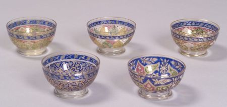 Five Etched and Enamel Decorated Colorless Glass Side Bowls