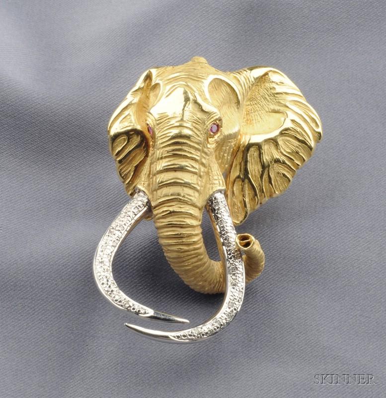 """18kt Gold Gem-set """"Shawu"""" Elephant Brooch"""
