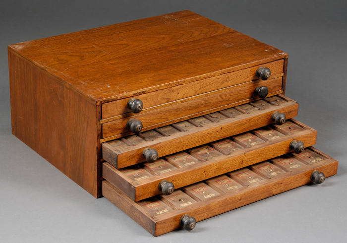 Two Walnut Fowler's Patented Material Cabinets