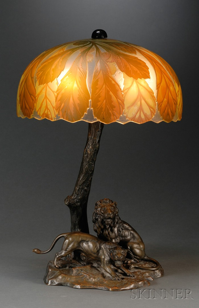 Continental Bronze Lamp Base with Cameo Glass Shade