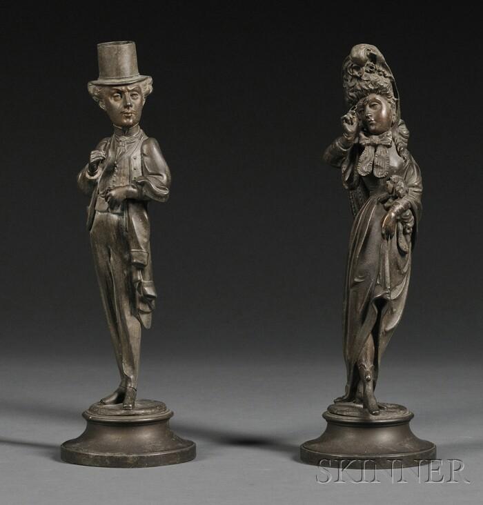 Pair of Figural Spelter Candlesticks
