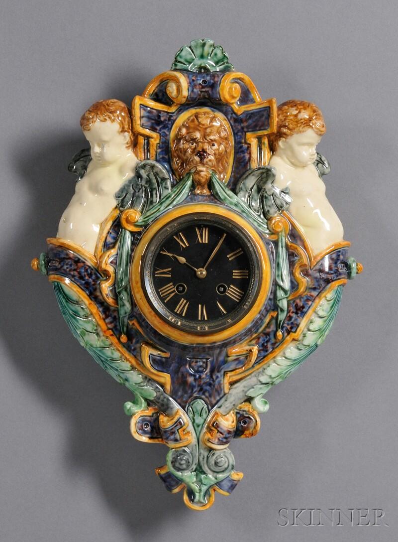 Continental Majolica-mounted Wall Clock