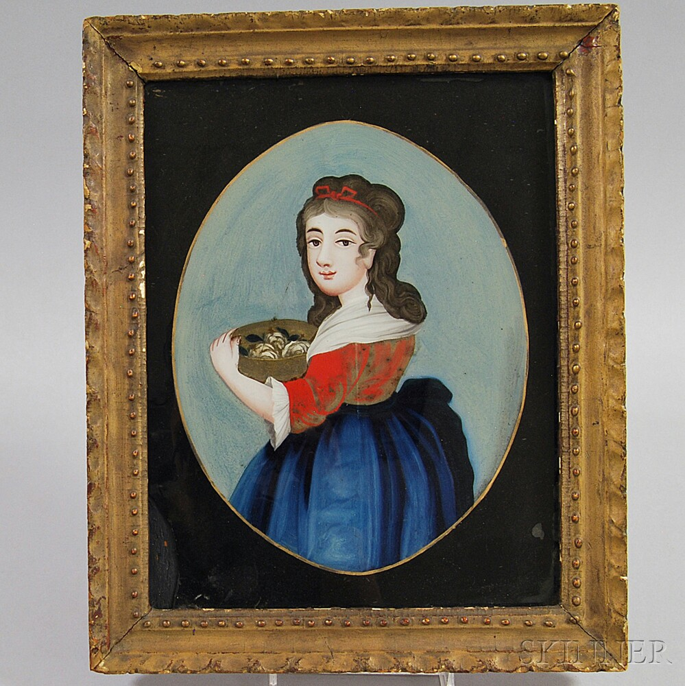 Framed Chinese Export Reverse-painted Portrait of a Girl
