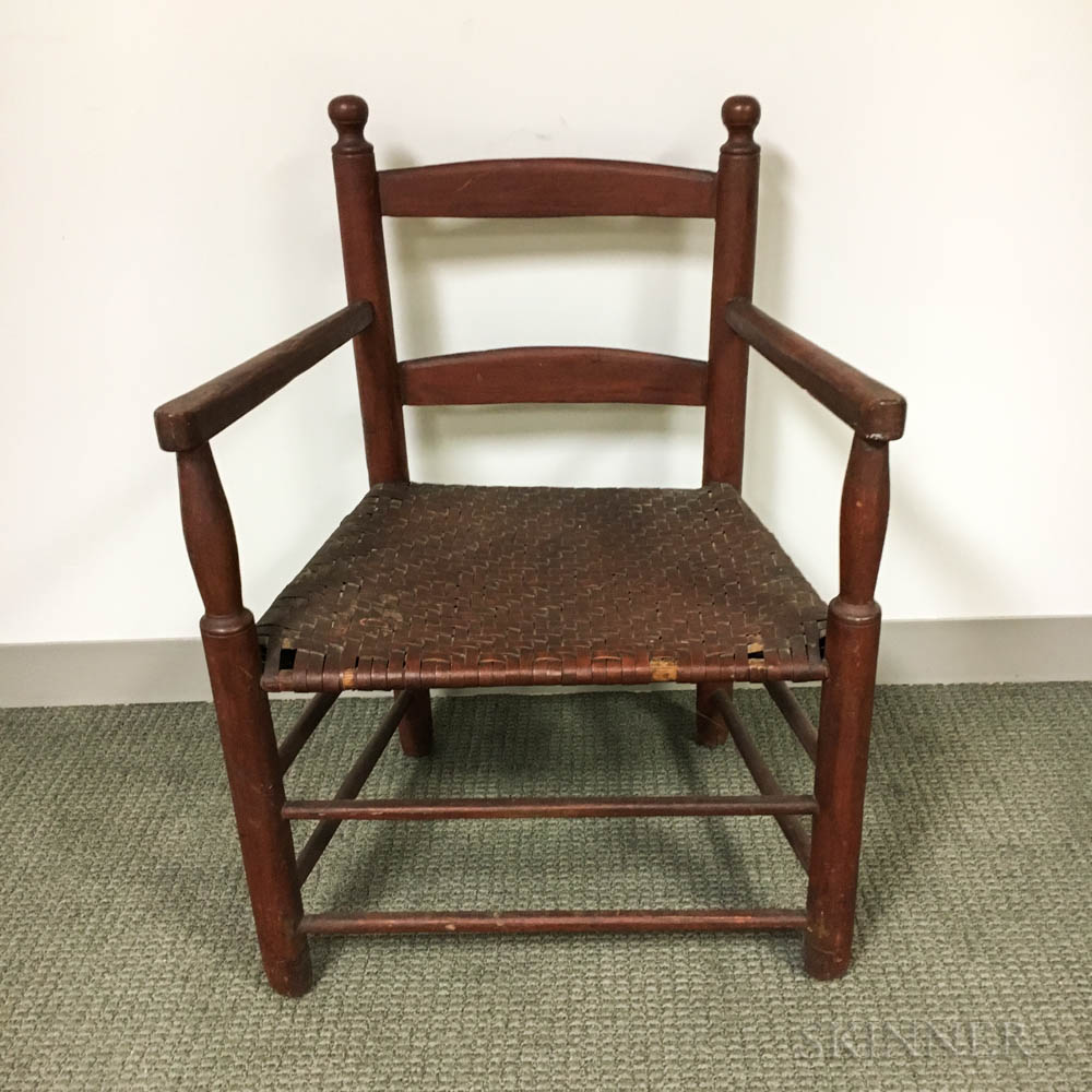 Country Red-painted Slat-back Armchair