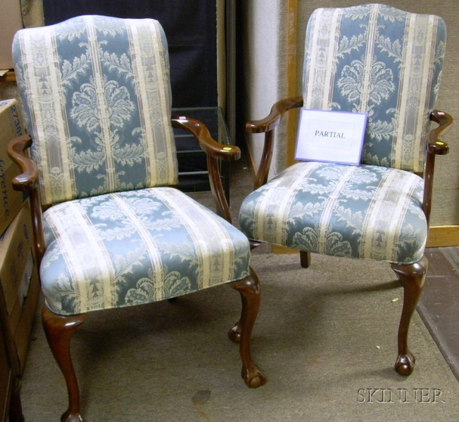 Set of Ten Georgian-style Upholstered Carved Beechwood Armchairs.