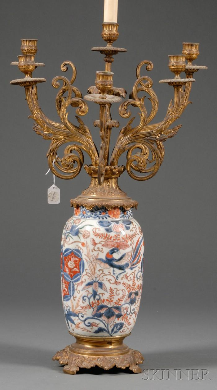 Ormolu Mounted Imari Porcelain Six Light Candelabrum