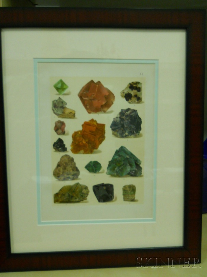 Set of Six German Chromolithographs of Mineral Specimens