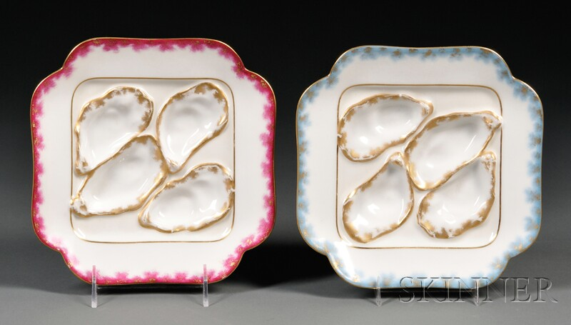 Two Limoges Porcelain Oyster Plates