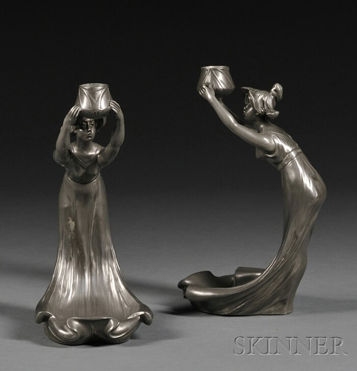 Pair of Art Nouveau Figural Pewter Candlesticks