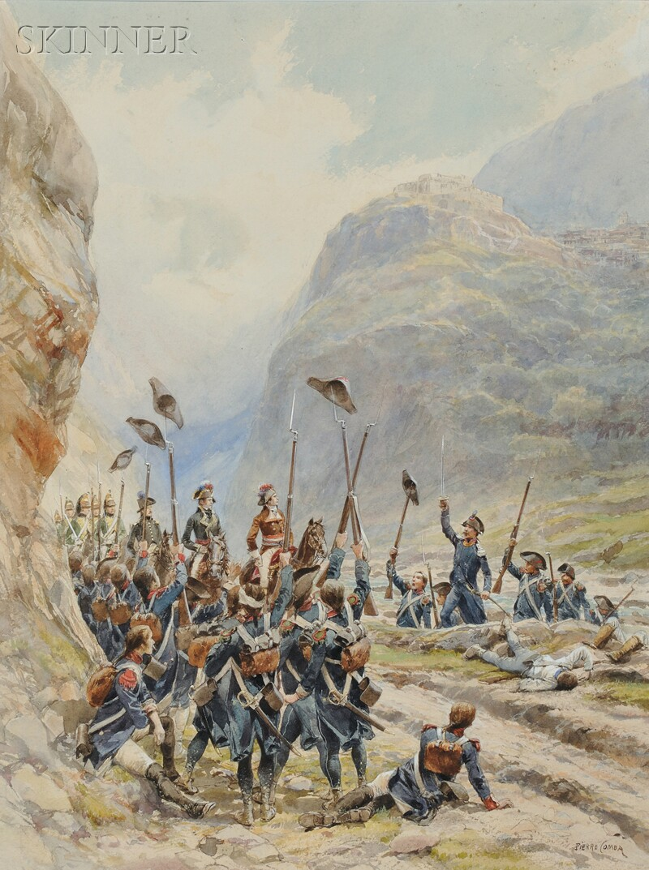 Pierre Comba (French, 1859-1934) Two Military Scenes: Prise de Saorge par le General Massena (Alpes-Maretimes) Avril 1796 pres Nice ...