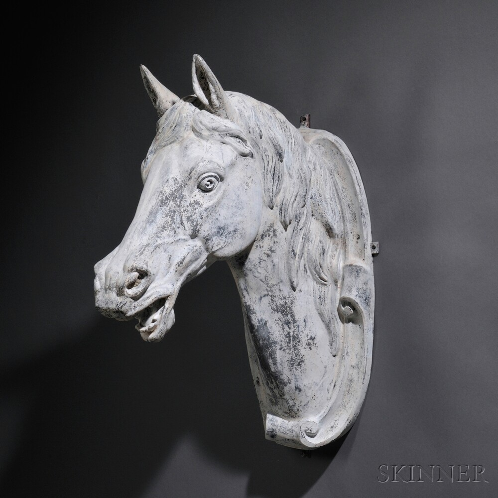J.W. Fiske Labeled White-painted Cast Zinc Horse-head Trade Sign