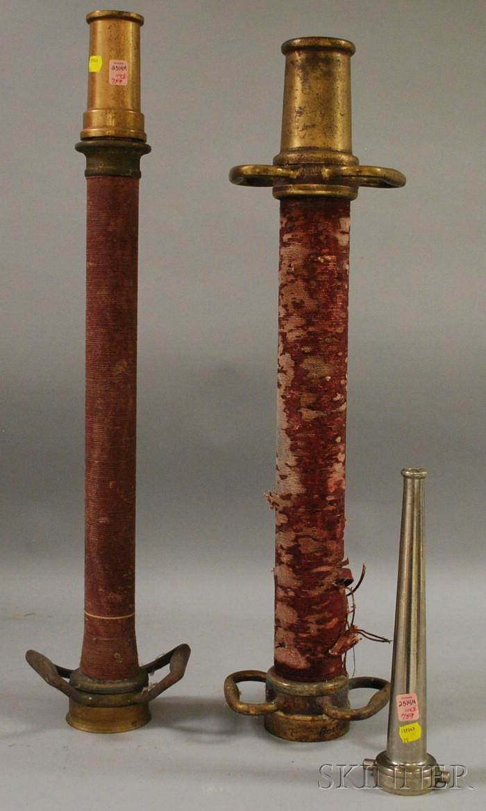 Three Fire Fighting Hose and Nozzle Segments