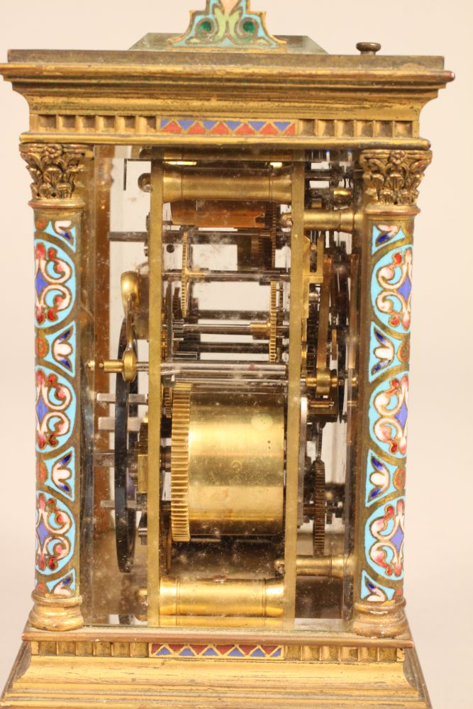 French Champleve Hour-repeating Carriage Clock