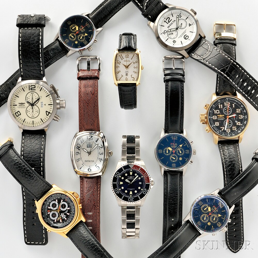 Seven Invicta and Three Fila Wristwatches