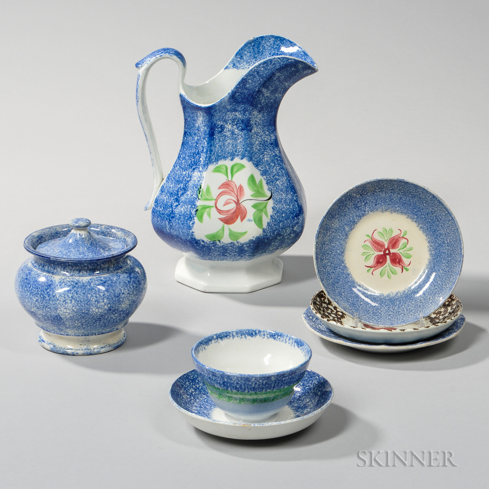 Seven Mostly Blue Spatterware Table Items
