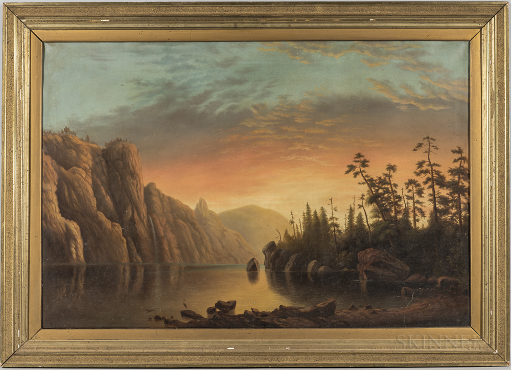 American School, 19th Century      Lake and Mountain Scene with Evening Sky