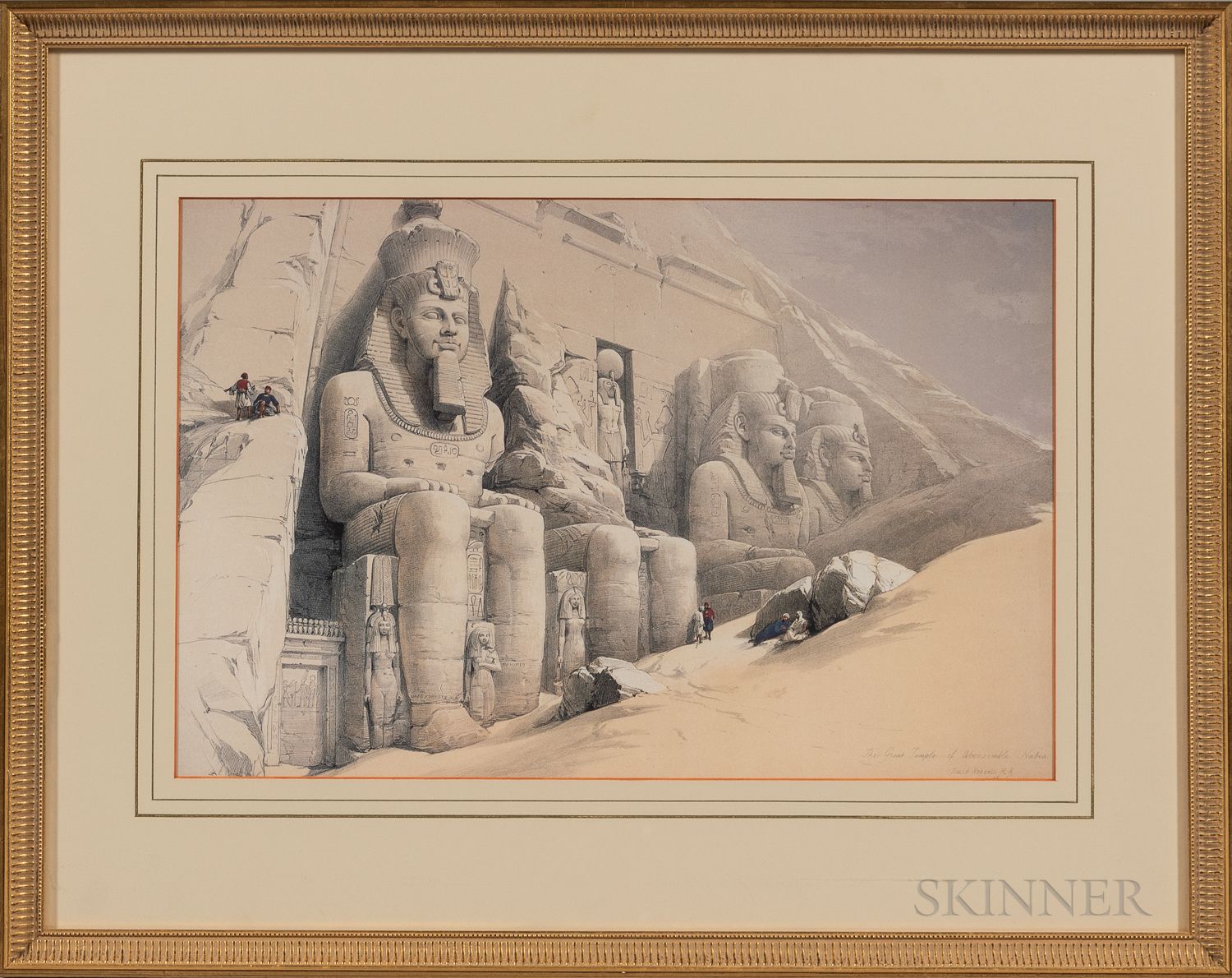 After David Roberts (Scottish, 1796-1864)      Two Egyptian Prints: Grand Portico of the Temple of Philae, Nubia