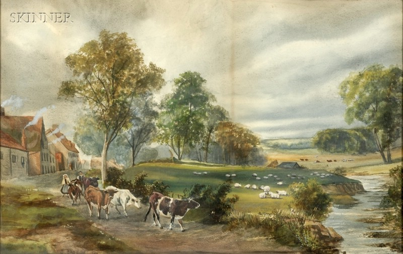 Anglo/American School, 19th Century      Landscape with Shepherds and Livestock